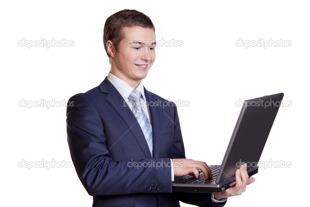 Businessman and Computer , Businessman on a break with his laptop.  Stock Photo #5273576