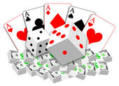 Gambling illustration of cards, dices and money — Stock Photo