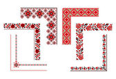 Ornamentos de bordado ucraniano — Vetor de Stock