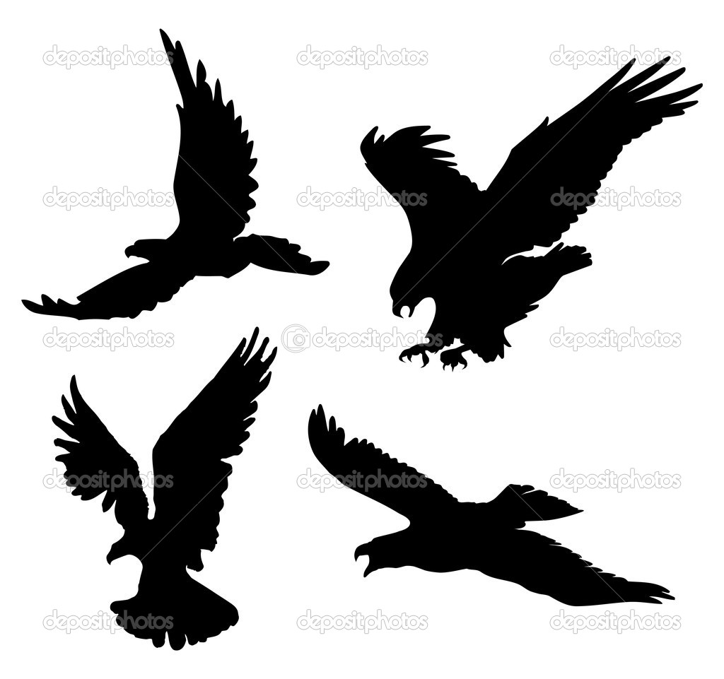 Flying eagles silhouettes on Eagle Silhouette Vector