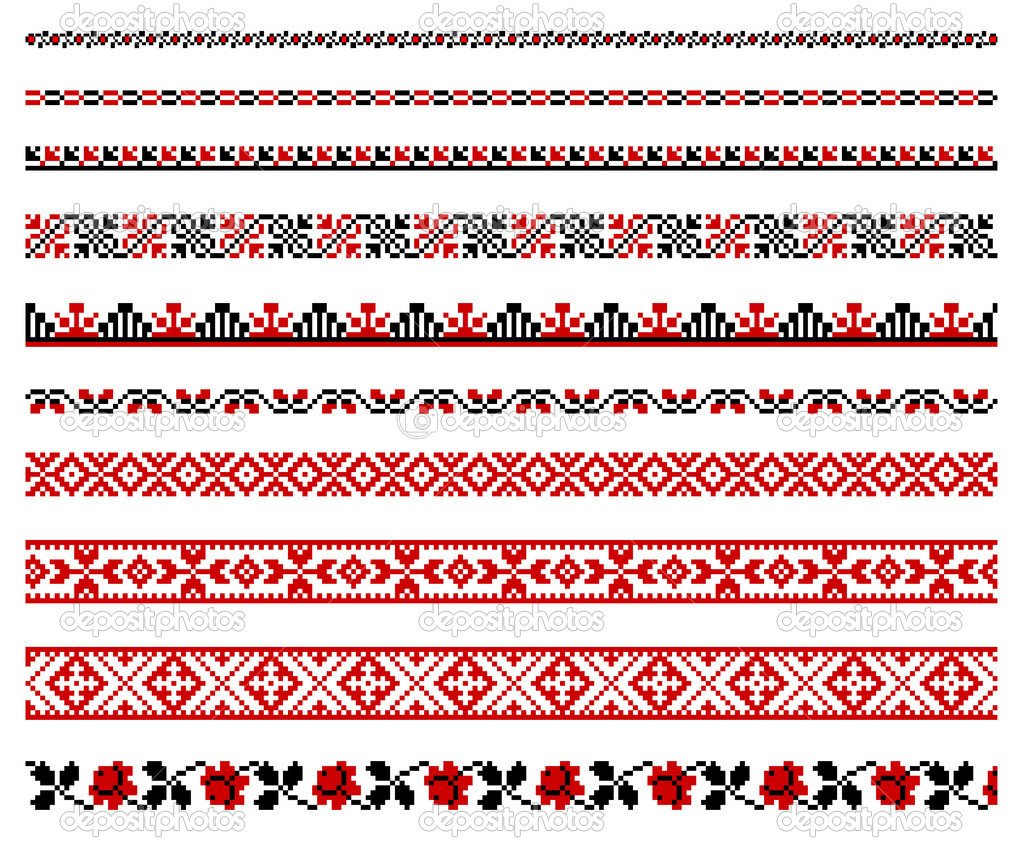 Ukrainian embroidery ornaments stock illustration