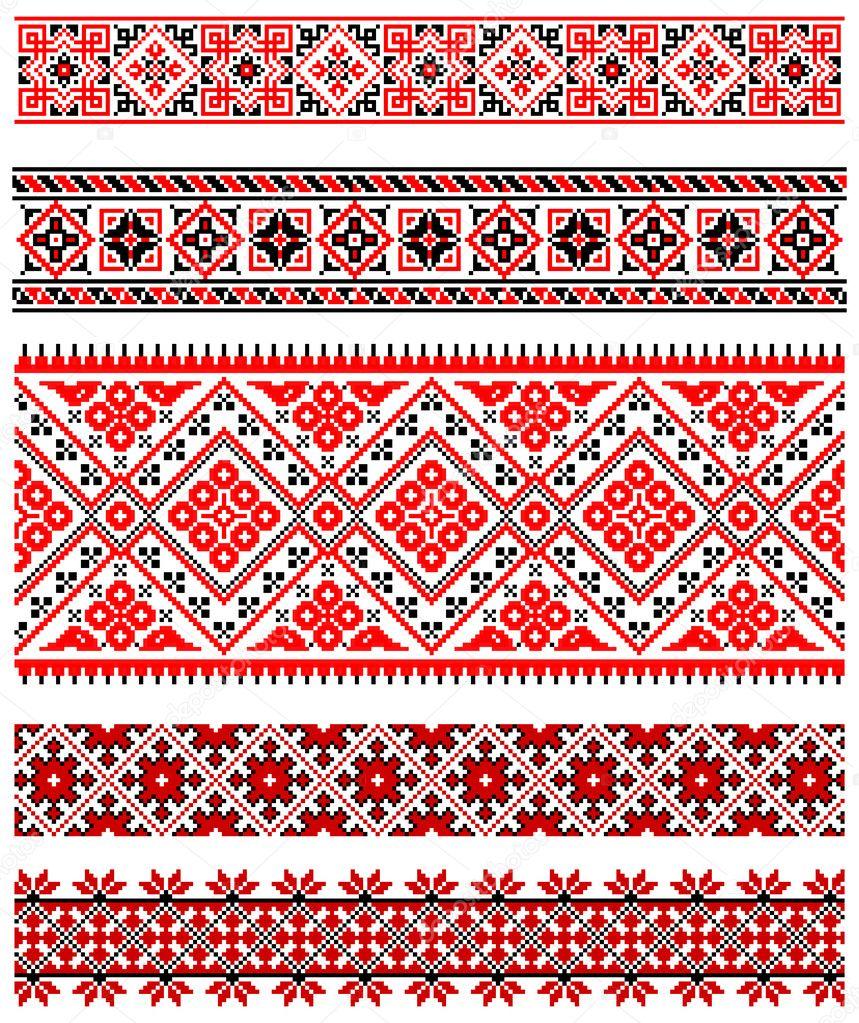 Украинские украшения вышивки — Векторное изображение