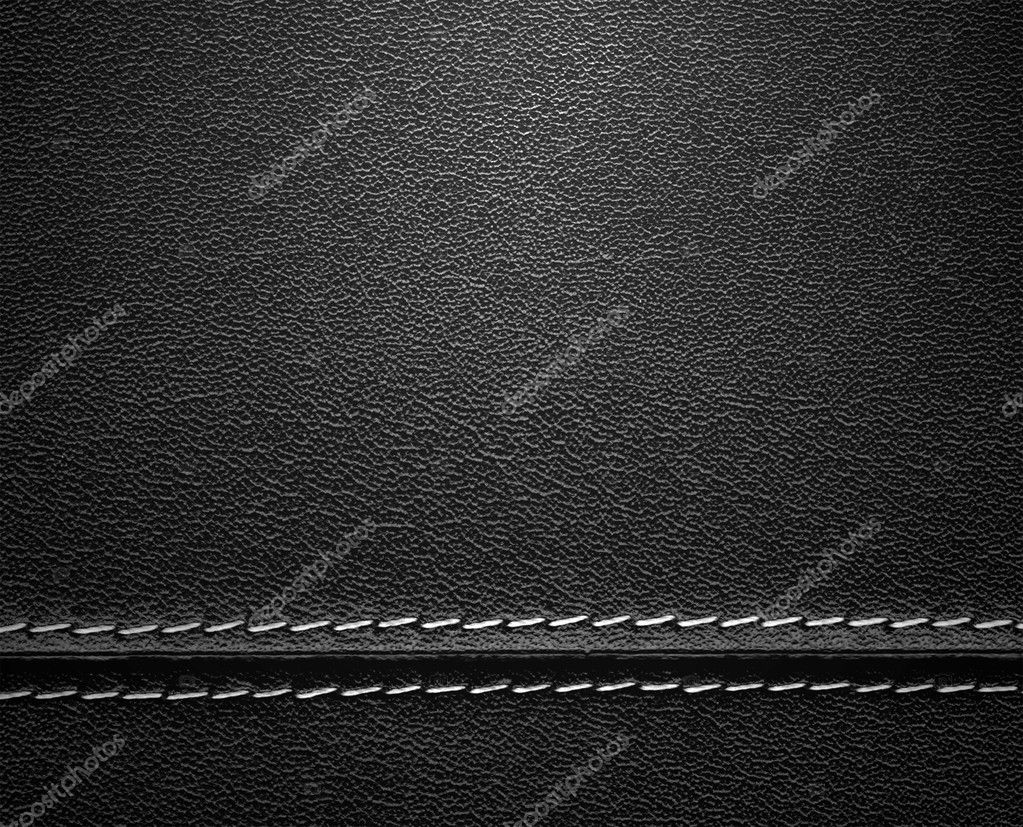 Real close-up of black leather texture — Photo #5025755