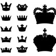 Crown silhouettes — Stockvektor