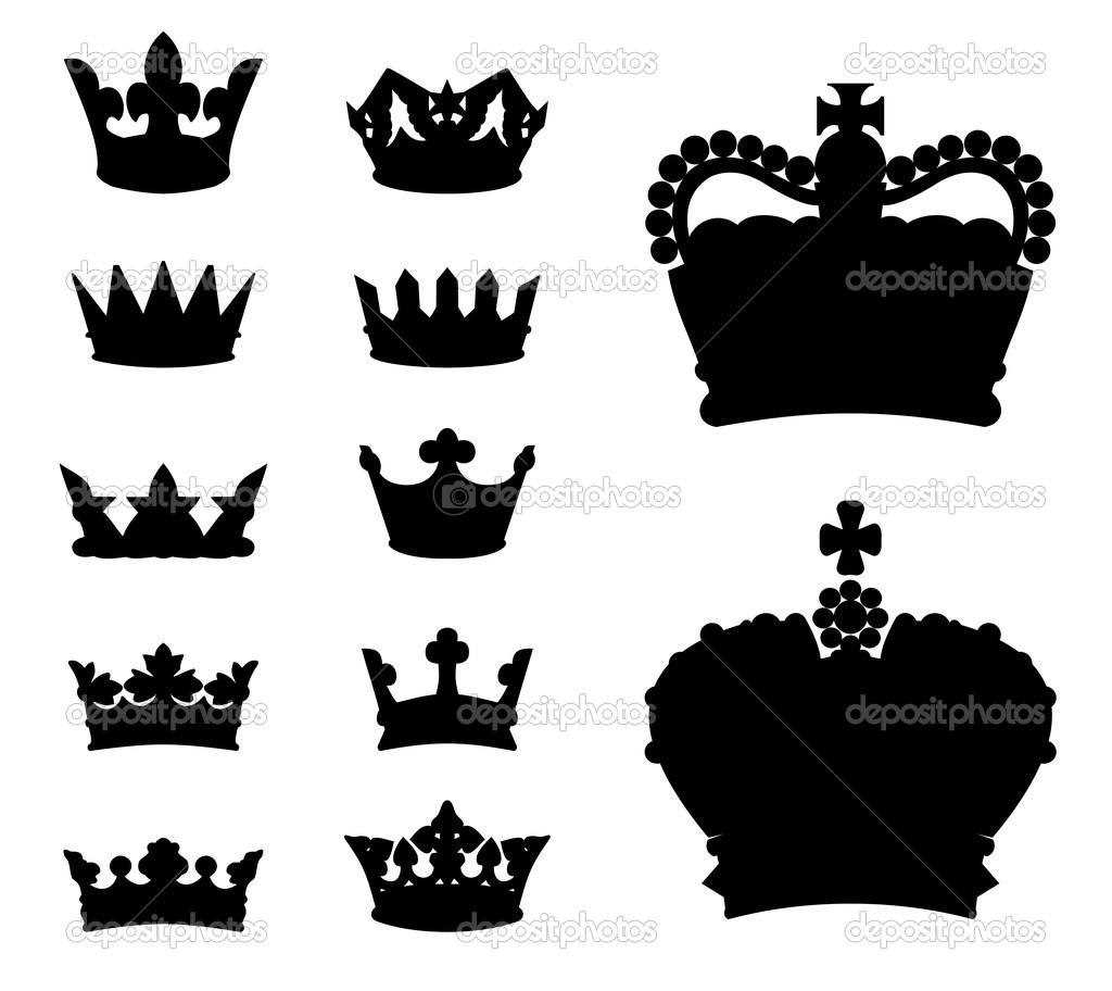 Set of various crown silhouettes, vector illustration  Stock Vector #5160973