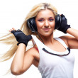 Young woman with big headphones — Stock Photo