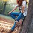 Young slim woman autumn portrait — Stok fotoğraf
