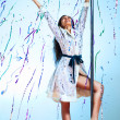Young pole dance woman celebrating - Stock fotografie