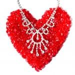 Love shape created from jewellery — Stock Photo