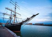 Sailing vessel in port — Stock Photo