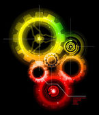 Glowing Techno Gears — Stock Vector