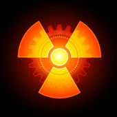 Glowing Radioactivity Sign — Stock Vector