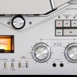 Vintage reel-to-reel tape recorder deck controls - Foto de Stock