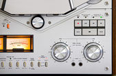Vintage reel-to-reel tape recorder deck controls — Stock Photo