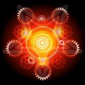 Glowing Techno Pentagram with gears — Stock Vector