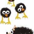 Grotesque surprised chicks and hedgehog — Stock Vector #4346368