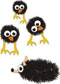 Grotesque surprised chicks and hedgehog — Stock Vector