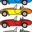 Vector set of cartoon retro cars - isolated illustrations on white background — ベクター素材ストック
