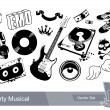Set of dirty grunge elements for musical design - Stock Vector