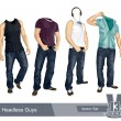 Set of headless guys - Stock Vector