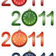 Stock Photo: Color figures 2011 with clocks