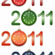 Color figures 2011 with clocks — Stock Photo