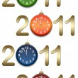 Gold  figures 2011 with clocks — Stock Photo