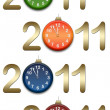 Stock Photo: Gold figures 2011 with clocks