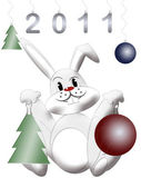 New year card with white rabbit — Stock Photo