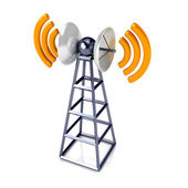 Mobile antenna over white — Stock Photo