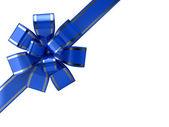 Blue ribbon over white — Stock Photo