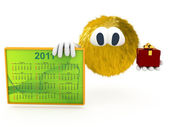 3d creature with calendar of 2011 — Stock Photo