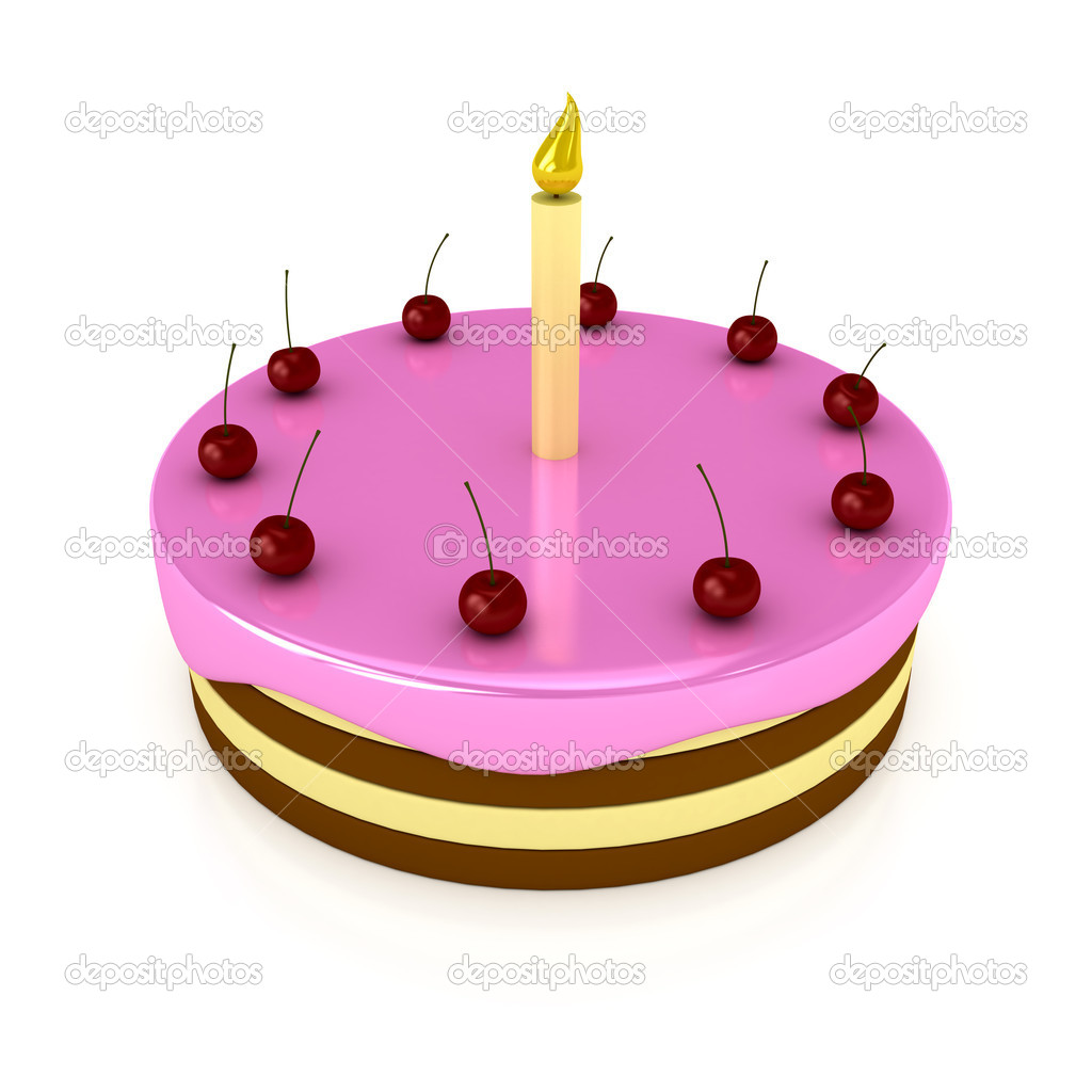 Birthday cake with candle over white stock image