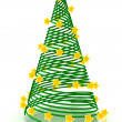Christmas tree with stars over white — Stock Photo