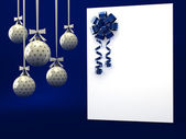 Greeting card with ribbon over blue — Stock Photo