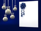 Biglietto di auguri con nastro sul blu — Foto Stock