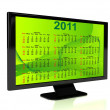 3d rendered TV with calendar — Stock Photo