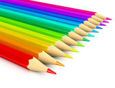Colour pencils over white background — Stock Photo