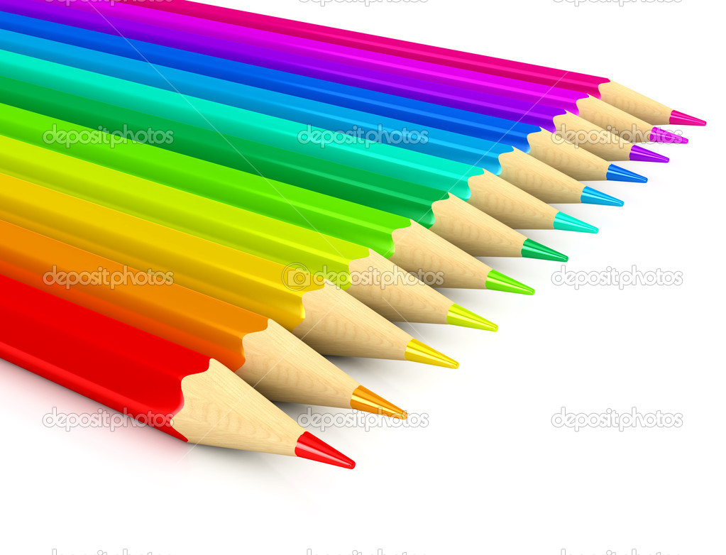 Colour pencils over white background. 3d rendered image  Stock Photo #4307125