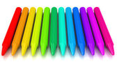 Colour crayons over white background — Stock Photo