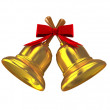 Gold christmas handbell over white — Stock Photo