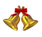 золото колокольчиков рождественских над белой — Стоковое фото