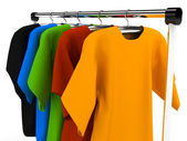 Hanger with clothes any color — Stock Photo