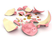 Broken piggy bank over white background — Stock Photo