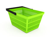 Shopping basket over white background — Stock Photo