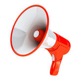 Red megaphone over white background — Stock Photo