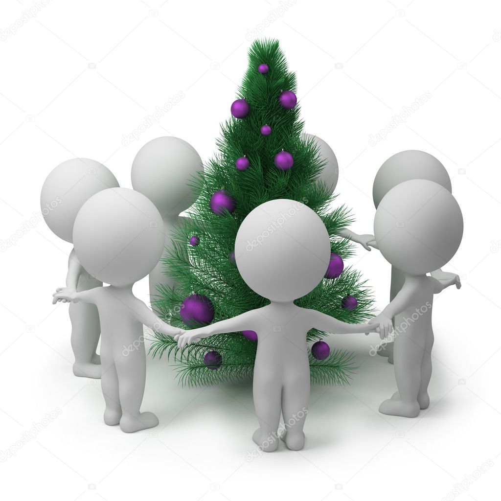 3d small dancing round a New Year\'s fur-tree. 3d image. Isolated white background.  Stock Photo #3998159