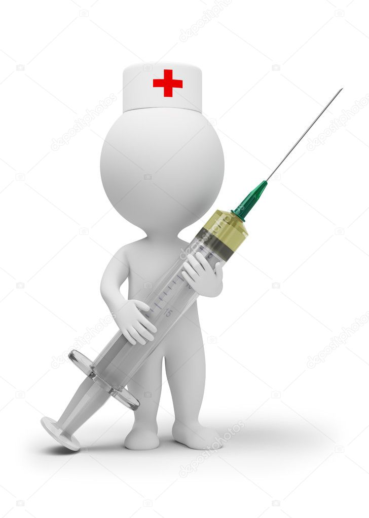 3d small - doctor with a syringe. 3d image. Isolated white background. — Stock Photo #4021256