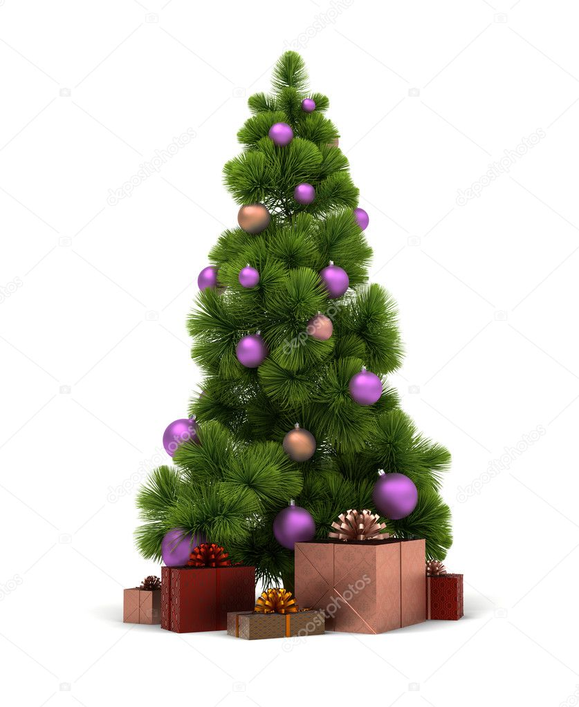 Christmas tree and gifts. 3d image. Isolated white background. Clipping path included. — Lizenzfreies Foto #4302334