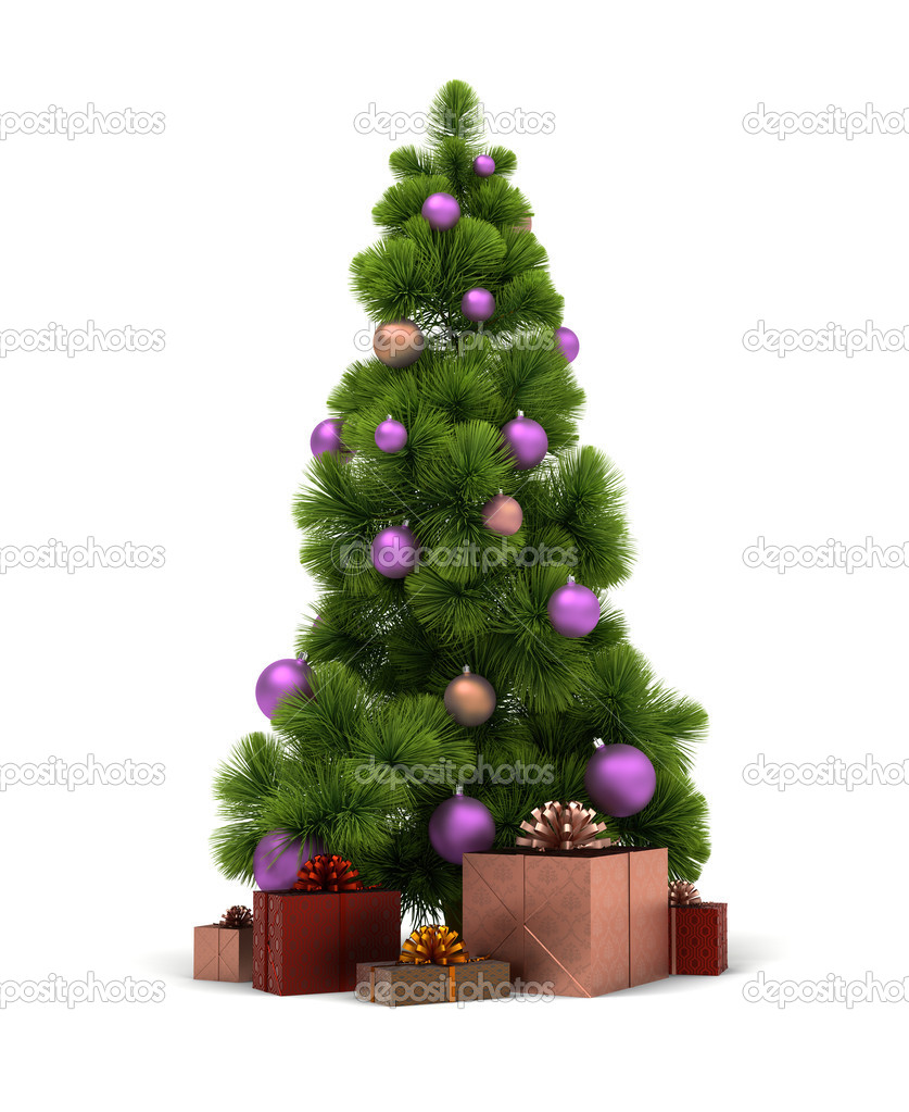 Christmas tree and gifts. 3d image. Isolated white background. Clipping path included. — Photo #4302334